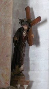 Sculpture of Jesus with the cross in the Chapel of the Flagellation, on the Via Dolorosa in Jerusalem.