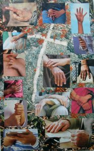 collage of hands and a cross